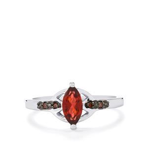 Rajasthan Garnet & Red Diamond Sterling Silver Ring ATGW 0.73cts