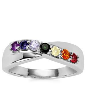 0.51ct Rainbow Gemstones Sterling Silver VIBGYOR Ring