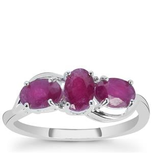Luc Yen Ruby Ring with White Zircon in Sterling Silver 2.10cts