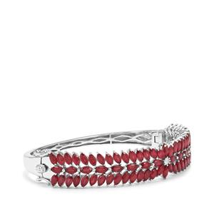 Malagasy Ruby & White Zircon Sterling Silver Bangle ATGW 16.85cts (F)