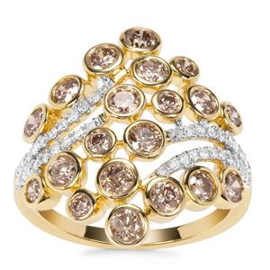 Champagne Diamond Ring with White Diamond in 9K Gold 1.58ct