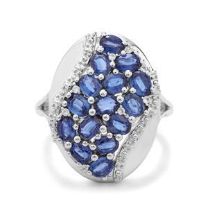 Daha Kyanite & White Zircon Sterling Silver Ring ATGW 3.15cts