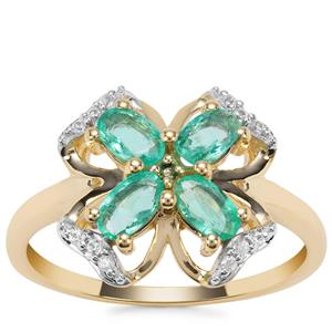 Colombian Emerald, Green Diamond Ring with White Zircon in 9K Gold 1.02ct