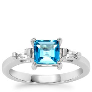 Swiss Blue Topaz Ring with White Topaz in Sterling Silver 1.57cts