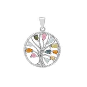 Multi-Colour Tourmaline Pendant in Sterling Silver 2.25cts