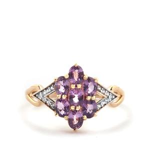 Purple Sapphire Ring with White Zircon in 10k Gold 1.58cts