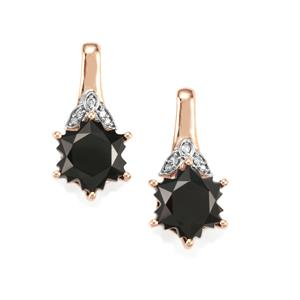 Black Spinel Wobito Snowflake Earrings with Diamond in 9K Rose Gold 6.30cts