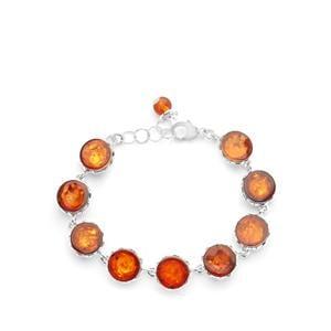 Baltic Cognac Amber (10x10mm) Bracelet  in Sterling Silver