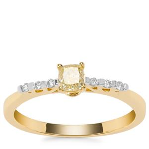 Yellow Diamond Ring with White Diamond in 18K Gold 0.37ct