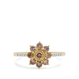 Champagne Diamond Ring with White Diamond in 9K Gold 0.78ct