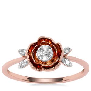 Argyle Diamond Ring in 9K Rose Gold 0.11ct