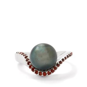 Tahitian Cultured Pearl Ring with Garnet in Sterling Silver