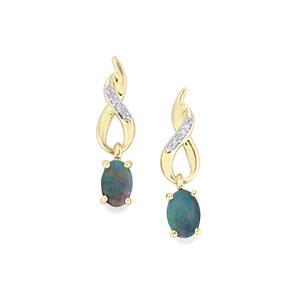 Crystal Opal on Ironstone Earrings with Diamond in 9K Gold