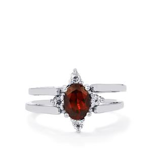 Mozambique, Rajasthan Garnet & White Topaz Sterling Silver Reversible Ring ATGW 2.19cts