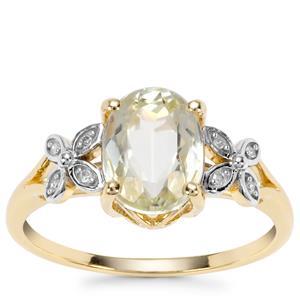 Minas Novas Hiddenite Ring with Diamond in 9K Gold 2.43cts