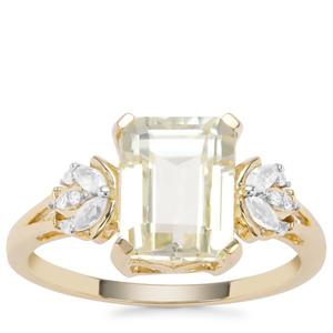 Minas Novas Hiddenite Ring with White Zircon in 9K Gold 3.45cts