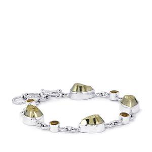 Drusy Pyrite & Rio Golden Citrine Sterling Silver Aryonna Bracelet ATGW 42cts
