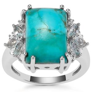 Cochise Turquoise, Sky Blue Topaz Ring with White Zircon in Sterling Silver 7.03cts