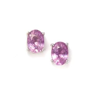 Ilakaka Hot Pink Sapphire Earrings in Sterling Silver 2cts (F)
