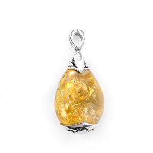 Baltic Champagne Amber Pendant in Sterling Silver (30 x 23mm)