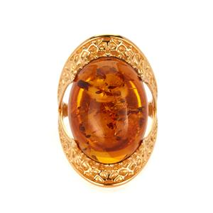 Baltic Cognac Amber (15x20mm) Ring in Gold Tone Sterling Silver