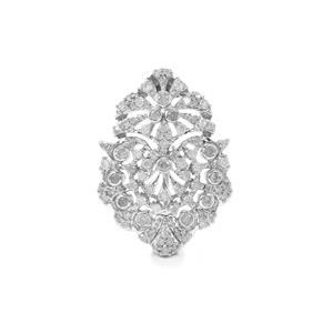 3/4ct Diamond Sterling Silver Brooch
