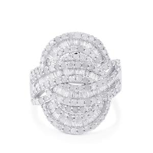 Diamond Ring in Sterling Silver 1.70ct