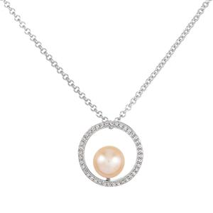 Kaori Cultured Pearl Necklace with White Topaz in Sterling Silver (9mm)