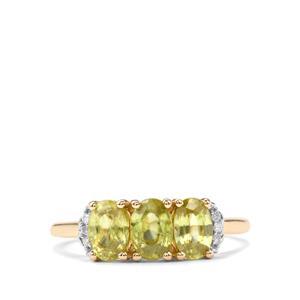 Ambilobe Sphene & Diamond 9K Gold Ring ATGW 1.61cts