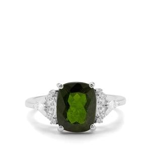 Chrome Diopside & White Zircon Sterling Silver Ring ATGW 3.22cts