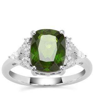 Chrome Diopside Ring with White Zircon in Sterling Silver 3.22cts