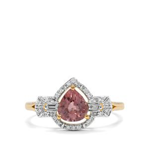 Padparadscha Sapphire Ring with Diamond in 18K Gold 1.21cts