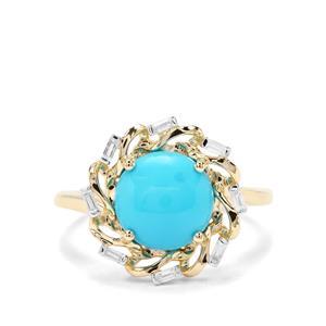 Sleeping Beauty Turquoise & White Zircon 9K Gold Ring ATGW 2.54cts
