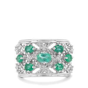 Zambian Emerald & White Zircon Sterling Silver Ring ATGW 1.59cts