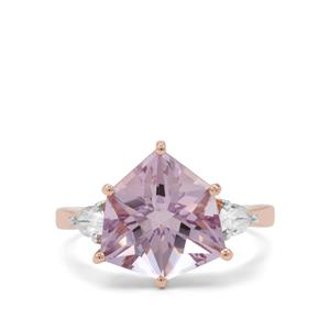 Alpine Cut Rose De France Amethyst Ring with White Zircon in 9K Rose Gold 4.85cts