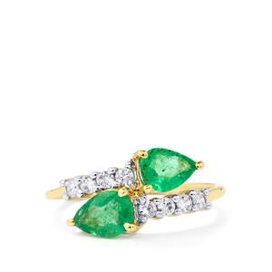 Zambian Emerald Ring with White Zircon in 10k Gold 1.51cts