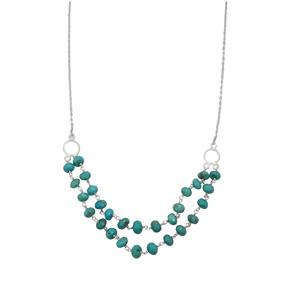 29ct Sleeping Beauty Turquoise Sterling Silver Bead Necklace