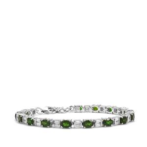 Chrome Diopside & White Zircon Sterling Silver Bracelet ATGW 9.84cts