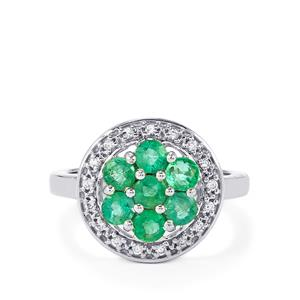 Zambian Emerald Ring with White Zircon in Sterling Silver 1.40cts