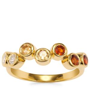 Madeira, Diamantina Citrine Essencia Ring with White Zircon in Gold Plated Sterling Silver 0.82ct