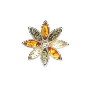 Baltic Cognac and Green Amber Flower Pendant with Baltic Champagne Amber in Sterling Silver (10x4mm)