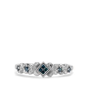 1/4ct Blue & White Diamond 9K White Gold Ring