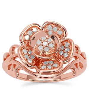 Diamond Ring  in Rose Gold Plated Sterling Silver 0.26ct