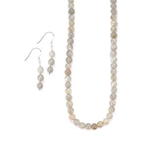 132.60ct Labradorite Sterling Silver Set of Necklace & Earrings