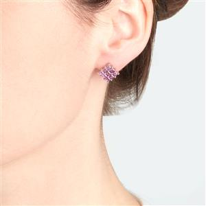 Rhodolite Garnet Earrings in Platinum Plated Sterling Silver 2.32cts