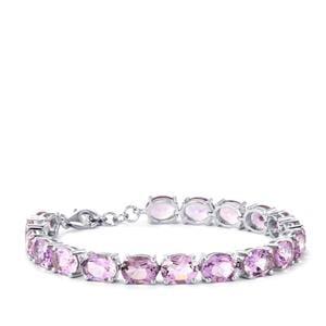 30.13ct Rose De France Amethyst Sterling Silver Bracelet