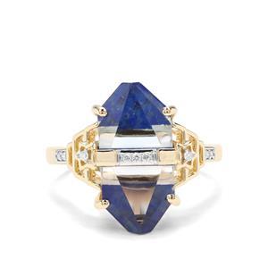 Lehrer Cosmic Obelisk Sky Blue Topaz, Sar-i-Sang Lapis Lazuli & Diamond 9K Gold Ring ATGW 8.46cts