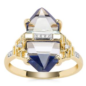 Lehrer Cosmic Obelisk Sky Blue Topaz, Sar-i-Sang Lapis Lazuli Ring with Diamond in 9K Gold 8.46cts