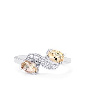 Mutala Morganite & White Topaz Sterling Silver Ring ATGW 0.94cts