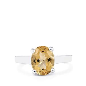 2.19ct Bolivian Natural Champagne Quartz Sterling Silver Ring